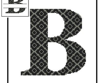 Monogram B Cross Stitch Pattern B Initial B Letter cross stitch Wedding Gift House Warming split letter cross Wedding Record Anniversary