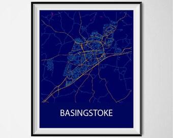 Basingstoke Map Poster Print - Night