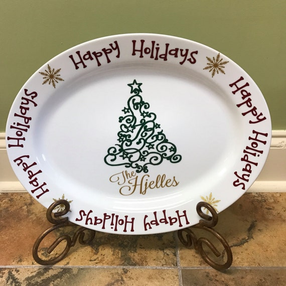 personalized christmas platter happy holidays platter