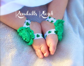 Saint Patricks Day Headband | St Patricks Day Headband | Barefoot Sandals | Baby Headband | Shamrock | Green Headband | Girls Headband | Bow