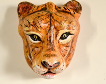 Safari Decorations small Faux Paper mache Tiger Head - Faux Taxidermy - Lion head wall mount - animal wall mount