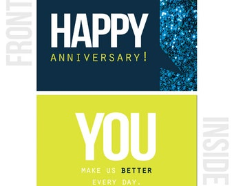 Multi Pack Of 10 Happy Work Anniversary Cards