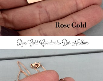 ROSE GOLD Bar Necklace, Coordinates Necklace, Long Distance Relationship, Hand Stamped Necklace, Rose Gold Necklace, Personalized Gift