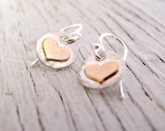 Heart Earrings, Little Hearts, Sterling Silver and Gold Toned, Gift for Her, Teenager, Daughter, Birthday