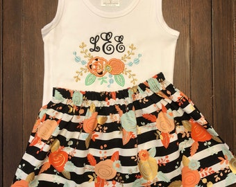 Flower and Stripes Tank and Skirt