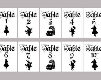 ID - Alice in Wonderland Table Numbers