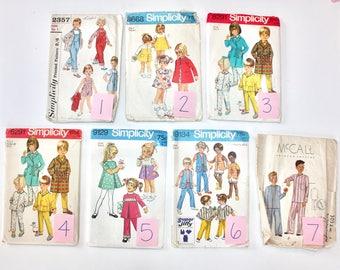 Lot of 13 Vintage Children's Patterns 30's, 50's, 60's, 70's (Size 3-5)