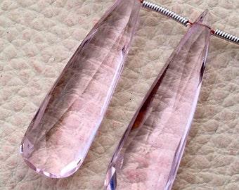 BRAND New, Superb Amazing Matched Pair, 35mm Long, PINK AQUAMARINE Quartz Elongated Pear pair.Low Price