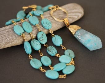 Gold Tipped Mint Colored Raw Quartz Druzy Spike and Turquoise Pendant Necklace,  Simple Jewelry, Turquoise Necklace, 24 Inch Necklace