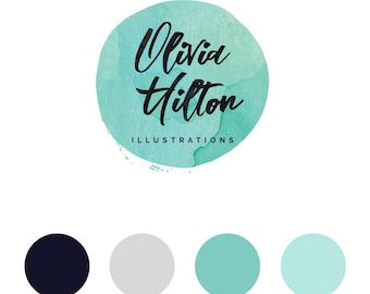 Watercolor logo, Premade logo, Photography logo, Calligraphy logo, Blog logo kit, Blog branding kit, Watermark, Business logo, Premade logos
