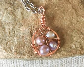 Copper Wire Bird Nest Necklace,Bird's Nest Pendent,Birdsnest jewelry ,copper Nest pendant,Birds nest Necklace,copper wire jewelry
