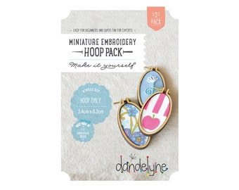 Mini embroidery hoops - PACK OF 3 - 34mm x 62mm OVAL mini embroidery hoop frames - embroidery - cross-stitch