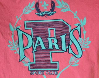 "80's T Shirt, Paris  Sports Club,Pink Purple,Over-sized ,XXL 50"" Chest ,Great Vintage Condition"