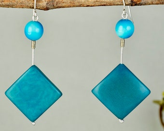 Turquoise tagua drop earrings, diamond shape dangle, summer jewelry, spring drops, colorful jewelry, handmade earrings, geometric earrings