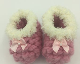 Light Pink Fuzzy Baby Booties
