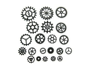 Paper Gears, Steampunk Gears, Table Confetti Set of 21 Pieces