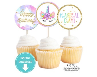 Gold Glitter Watercolors Unicorn Cupcake Toppers, Stickers, Printable Tags, Unicorn Party Decor, Unicorn labels - INSTANT Download