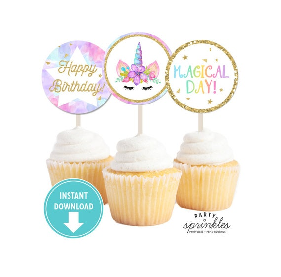 Gold glitter watercolors unicorn cupcake toppers stickers printable tags unicorn party decor unicorn labels instant download