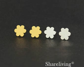 4pcs (2 Pairs) Silver, Golden Flower Stud Earring, Nickel Free, High Quality Brass Earring Post - ED403