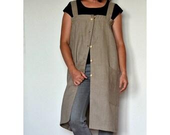 Linen apron dress, apron dress, linen apron, apron dress for women, linen apron women, linen dress, linen artist smock, woman apron dress