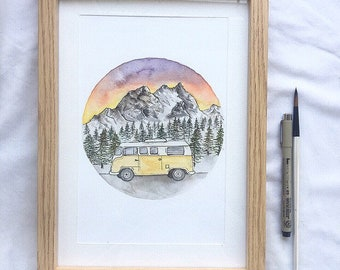 Mountain scene -Original A5 WITH FRAME