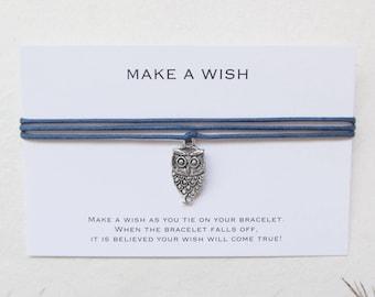 Wish bracelet, make a wish bracelet, friendship bracelet, owl bracelet