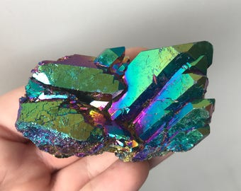 Rainbow Titanium Aura Quartz-Self Standing, Arkansas Quartz
