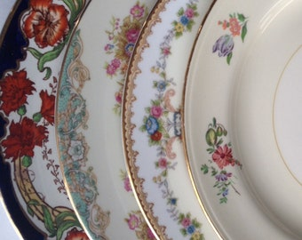 Mismatched China Dinner Plates Set 4 Vintage China Dinnerware Wedding China Gift Bridal Luncheon Plates Showers Brides Gift Shabby Chic (#10