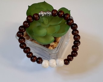 Essential oil diffuser bracelet, wood and white lava