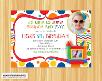 Bounce House Invitation with Photo   Bounce House Birthday Party   Bounce House Party   Girl Party   DIY Printable