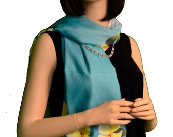 Sunshield Scarf Southern Magnolias Collection Powder Blue