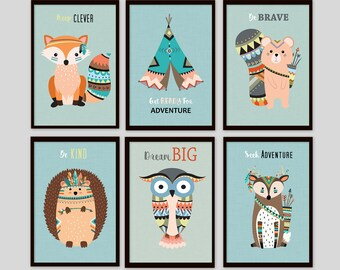Woodland nursery, Animal prints for nursery, Woodland printable, Woodland nursery decor, Tribal nursery art, set of 6 decor, set of 6 prints