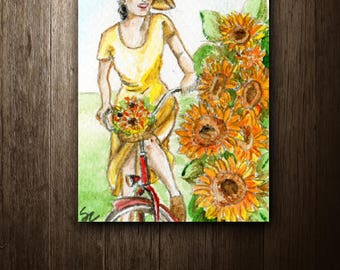 ACEO Original watercolor painting - Sunflower
