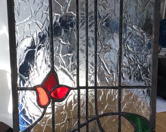 Flower stained glass window panel