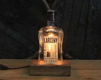 Larceny Bourbon Bottle Lamp - Features Reclaimed Wood Base, Edison Bulb, Twisted Cloth Wire, In line Switch, Father's Day Gift