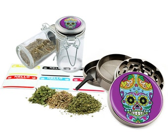 "Sugar Skull - 2.5"" Zinc Alloy Grinder & 75ml Locking Top Glass Jar Combo Gift Set Item # G021615-044"