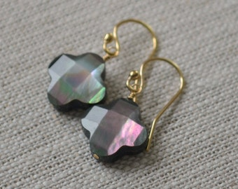 Black Mother of Pearl Earrings, MOP Quatrefoil Clover, Drop Earrings, Wire Wrapped, Gold Filled Jewelry, Free Shipping
