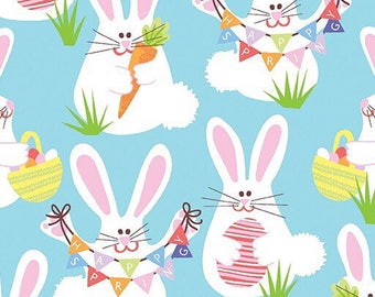 EASTER BUNNY SPRING Fabric - easter/Childrens/rabbit/bunny [[by the half yard]]