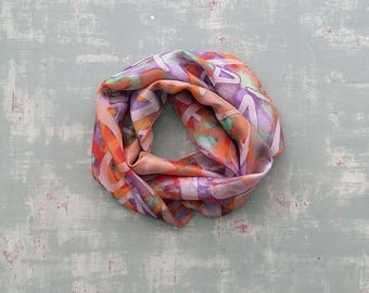 Lightweight artistic silk scarf with abstract print, orange silk scarf for women, original long printed foulard, unique design, gift for mum