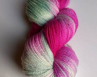 Cool Raspberry, hand dyed sock yarn