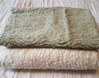 CHP041 ~ 2 chenille pieces Soft yellow Moss green Cotton chenille