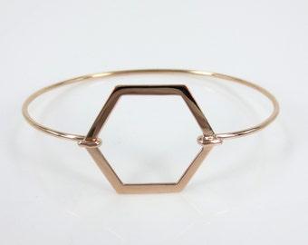 Solid 18k Rose Gold Octagon Charm open wire Bangle Bracelet