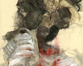 """Originalzeichnung, """"Hommage à Lovis Corinth XI"""", Mischtechnik auf Papier, 41x28 cm"""