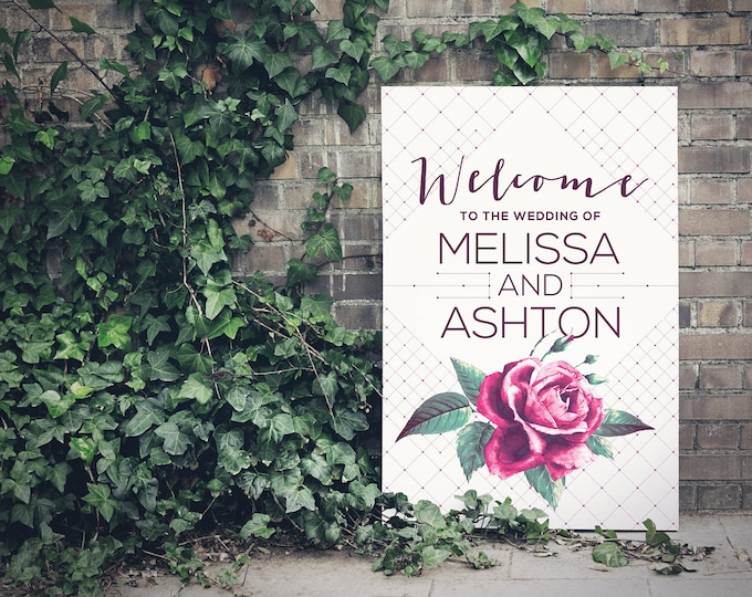 PRINTABLE - Wedding Sign, Printable Welcome Sign, Vintage Rose, Green foliage, Modern, Geometric, Purple - Free changes