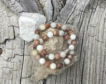 Sunstone And Moonstone Mix Bracelet For Women, Gift for her