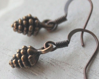 Copper pine cone earrings, Pinecone Earrings, choose Silver, gold, copper, antique silver, antique brass, hooks or clips  E498