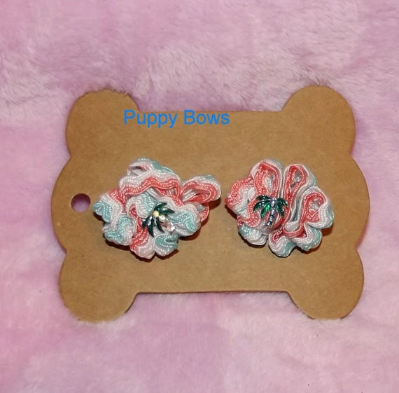 Puppy Bows ~ Rhinestone PALM TREE coral turquoise zig zag puffs  dog bow pair  ~USA seller (fb3)