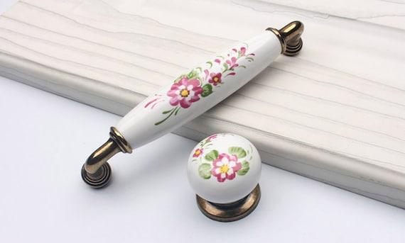 4.88u0027u0027 Ceramic Cabinet Handles Pulls Knobs Dresser Drawer Pulls Knob  Antique Bronze Rustic Kitchen Handles Furniture Hardware Flower 124 Mm From  ...