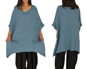 LC900MBL dames vintage linnen tuniek blouse top Gr. 48 50 52 draagbare plus grootte middel blauw