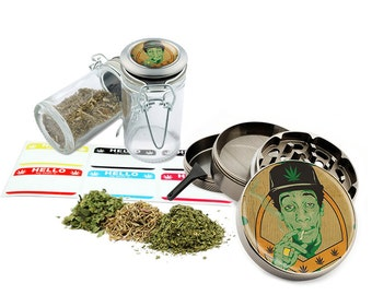 "Smoking - 2.5"" Zinc Alloy Grinder & 75ml Locking Top Glass Jar Combo Gift Set Item # G022015-028"